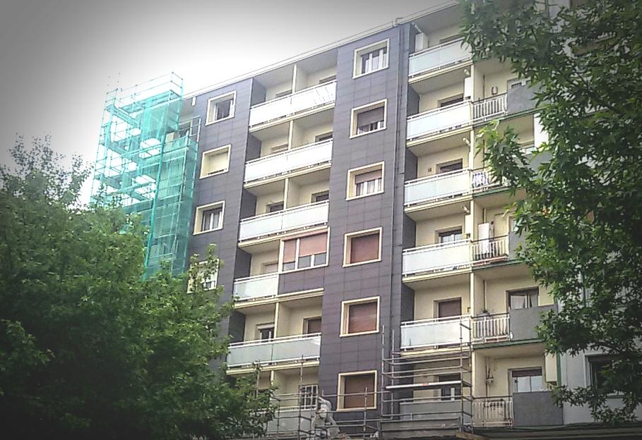 Vista nueva fachada ventilada y SATE